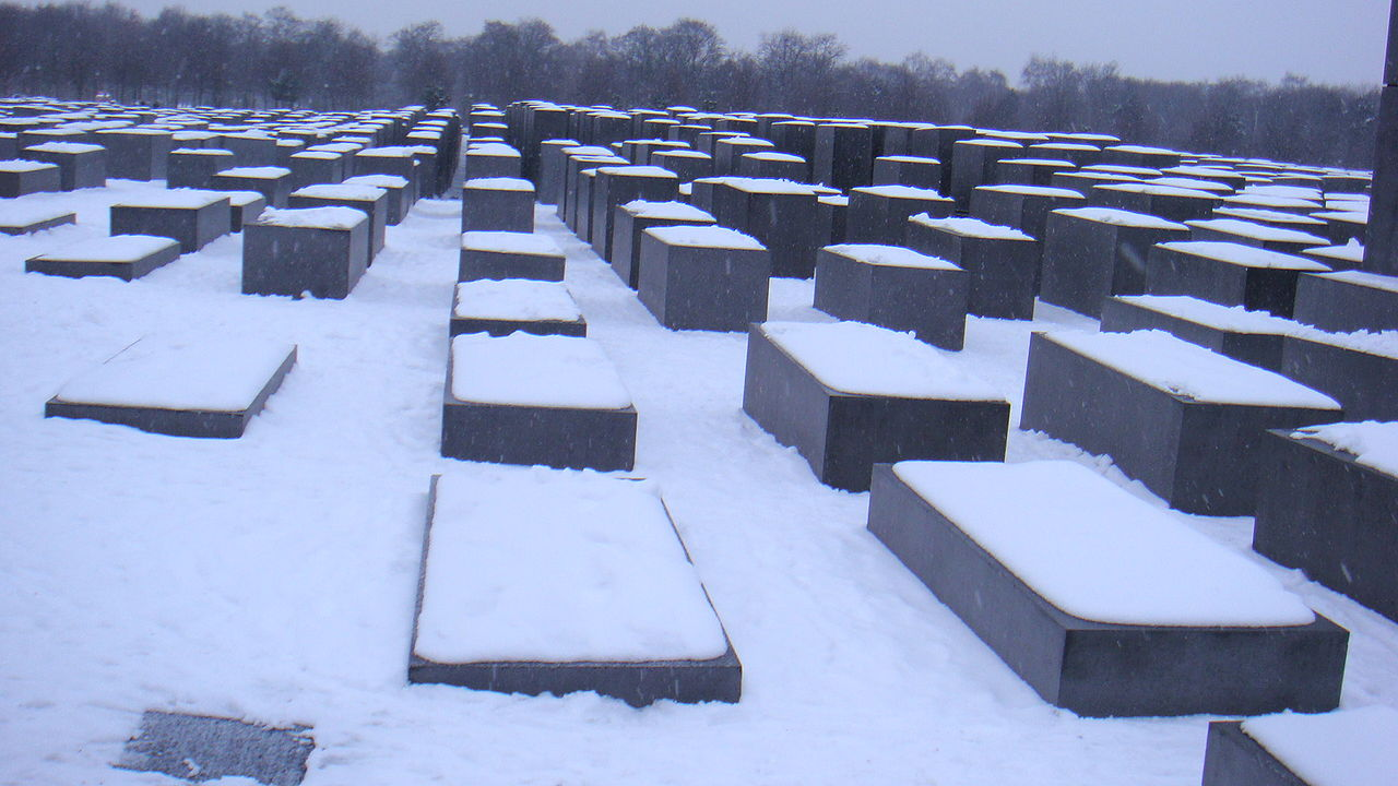 Memorial to the Murdered Jews of Europe covered in snow, February 2009.