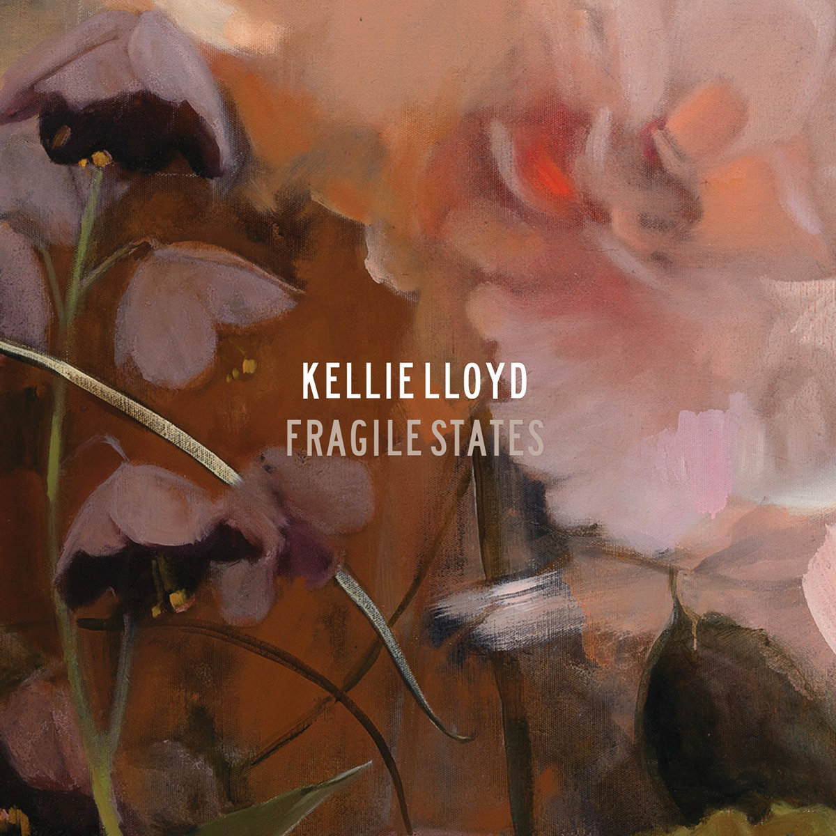Album cover, with drooping pink flowers fading into a pink and orange background.