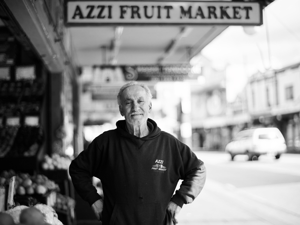 Mr Azzi outside his Enmore fruit shop.