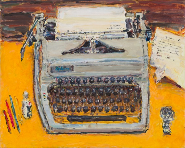 Painting of a typewriter on a yellow desk, with a wristwatch next to the typewriter. By Tom Carment.