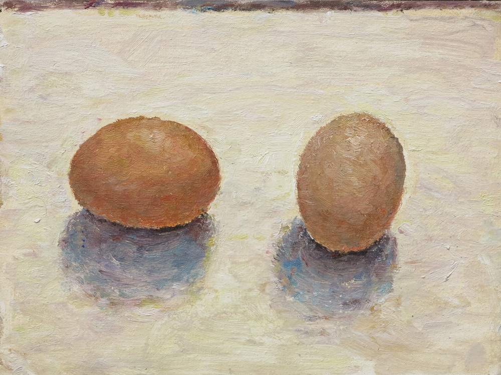 Painting of two eggs on a cream surface, by Tom Carment.