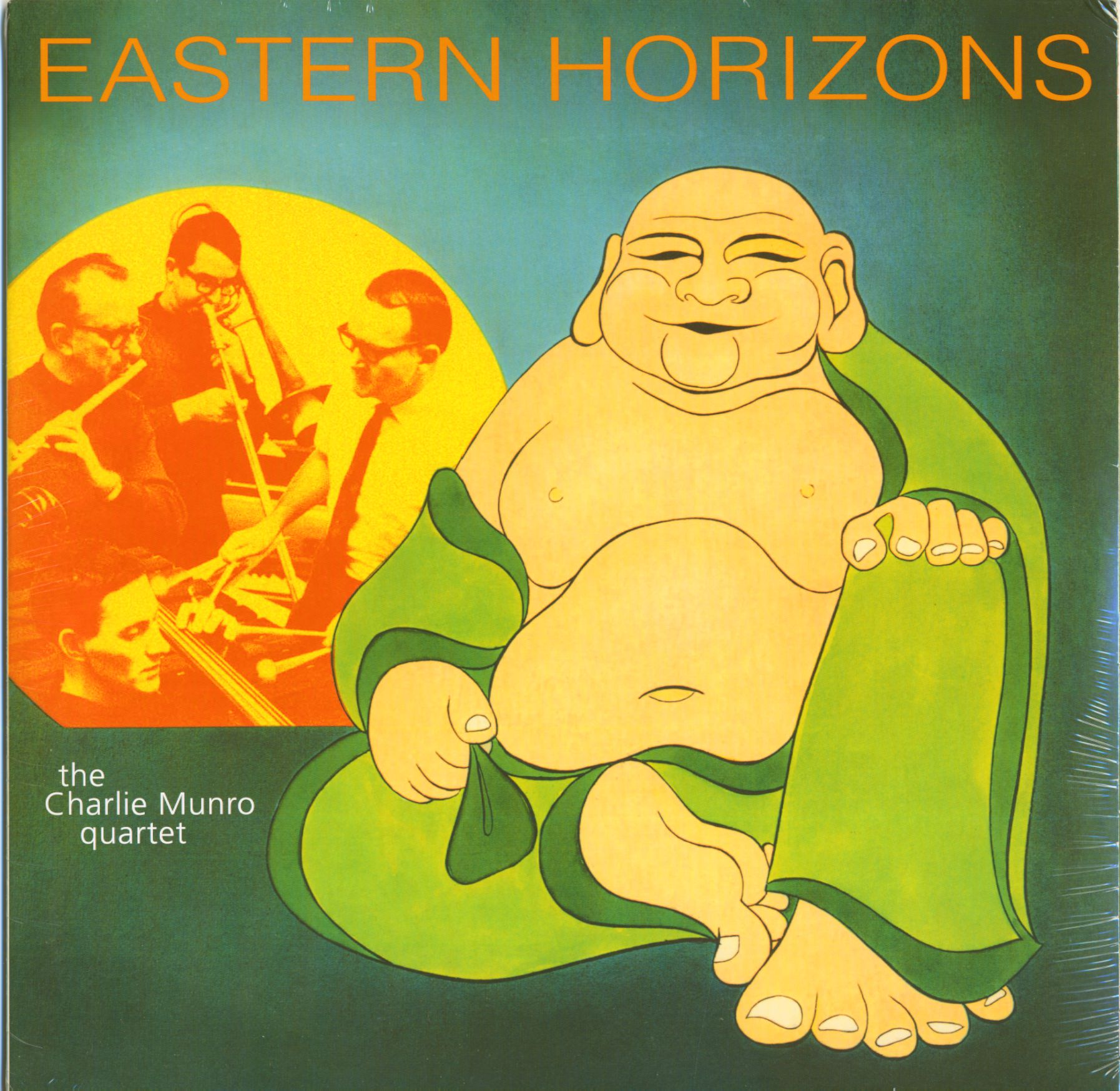 A yellow-skinned fat Buddha features on the album cover of 'Eastern Horizons'
