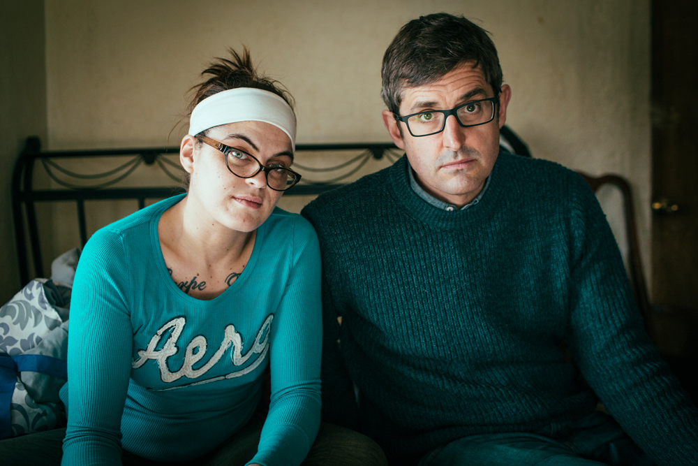 Theroux, right, sits with Petty Betty, left, a heroin user struggling to overcome her addiction.