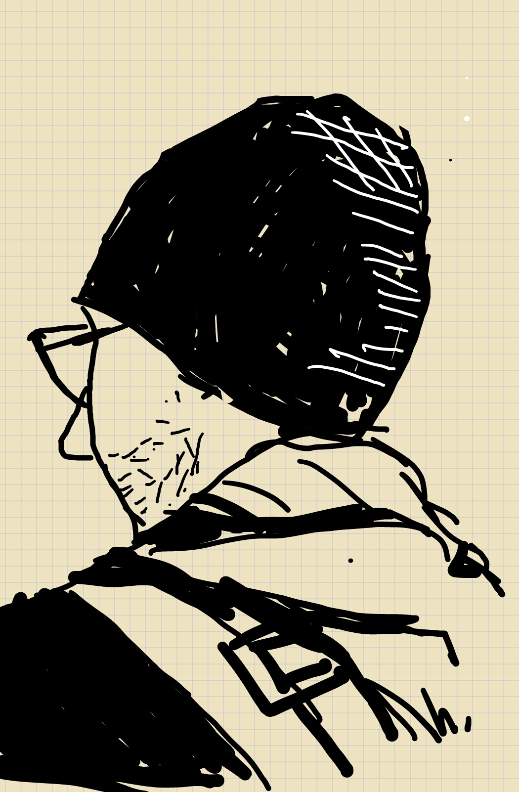 A man in a beanie and glasses, sketched from behind.
