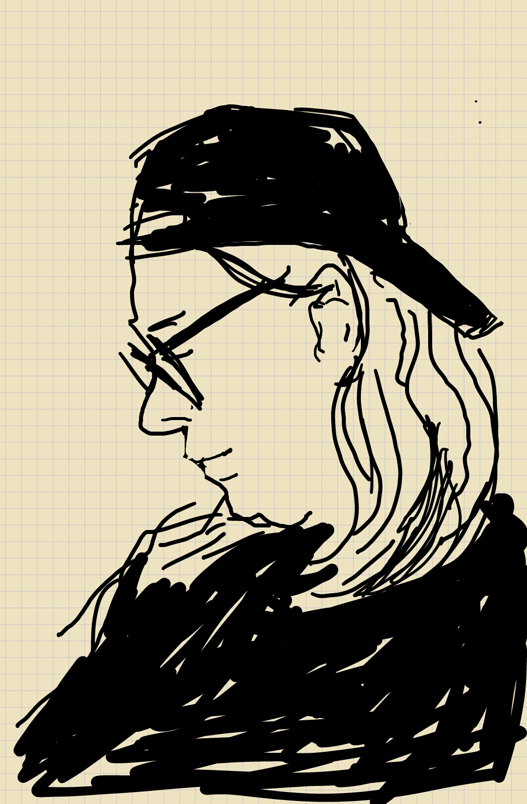 A profile sketch of a woman wearing a cap backwards.