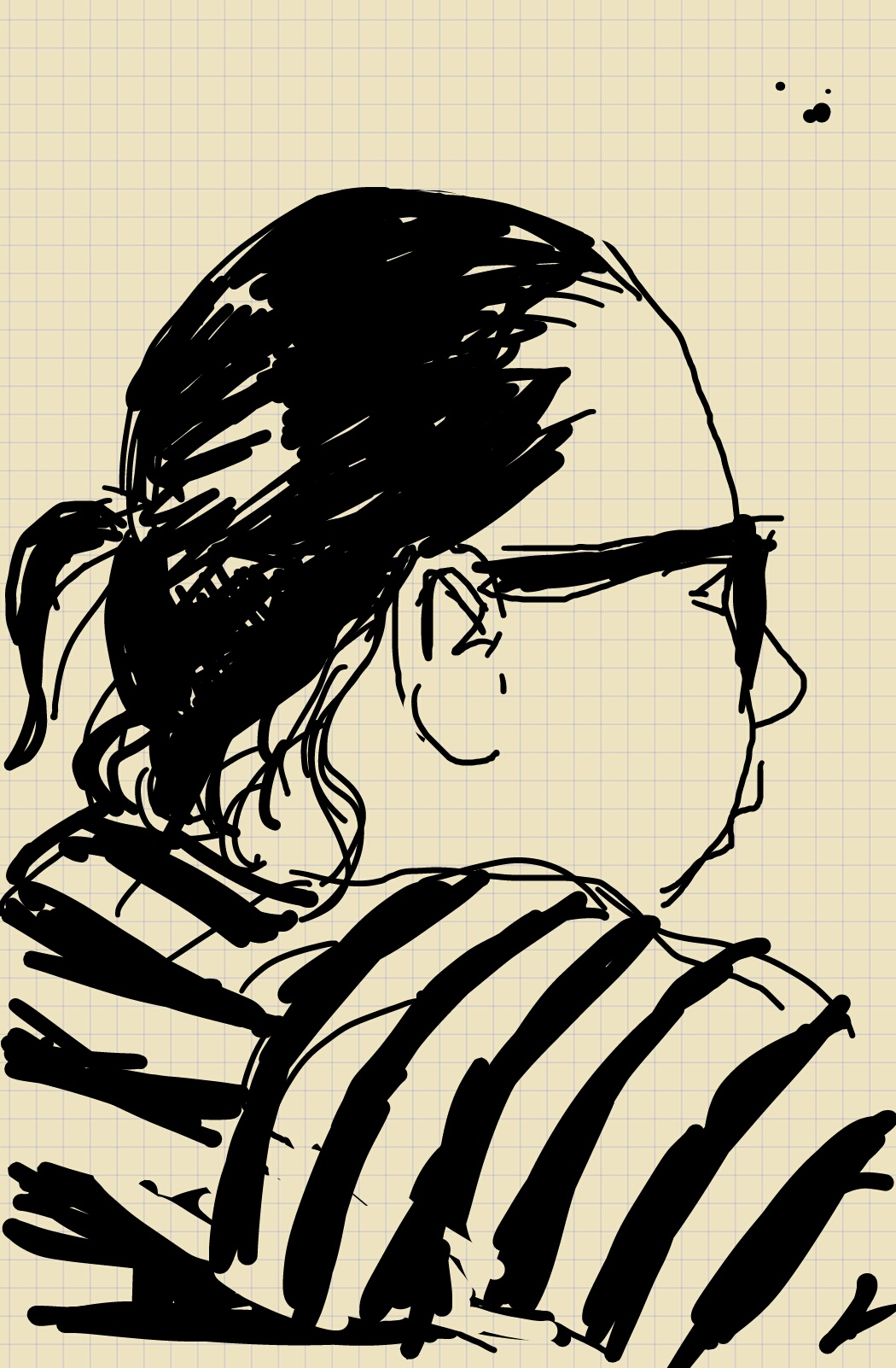A profile sketch of a woman wearing a striped shirt, with her black hair tied back.