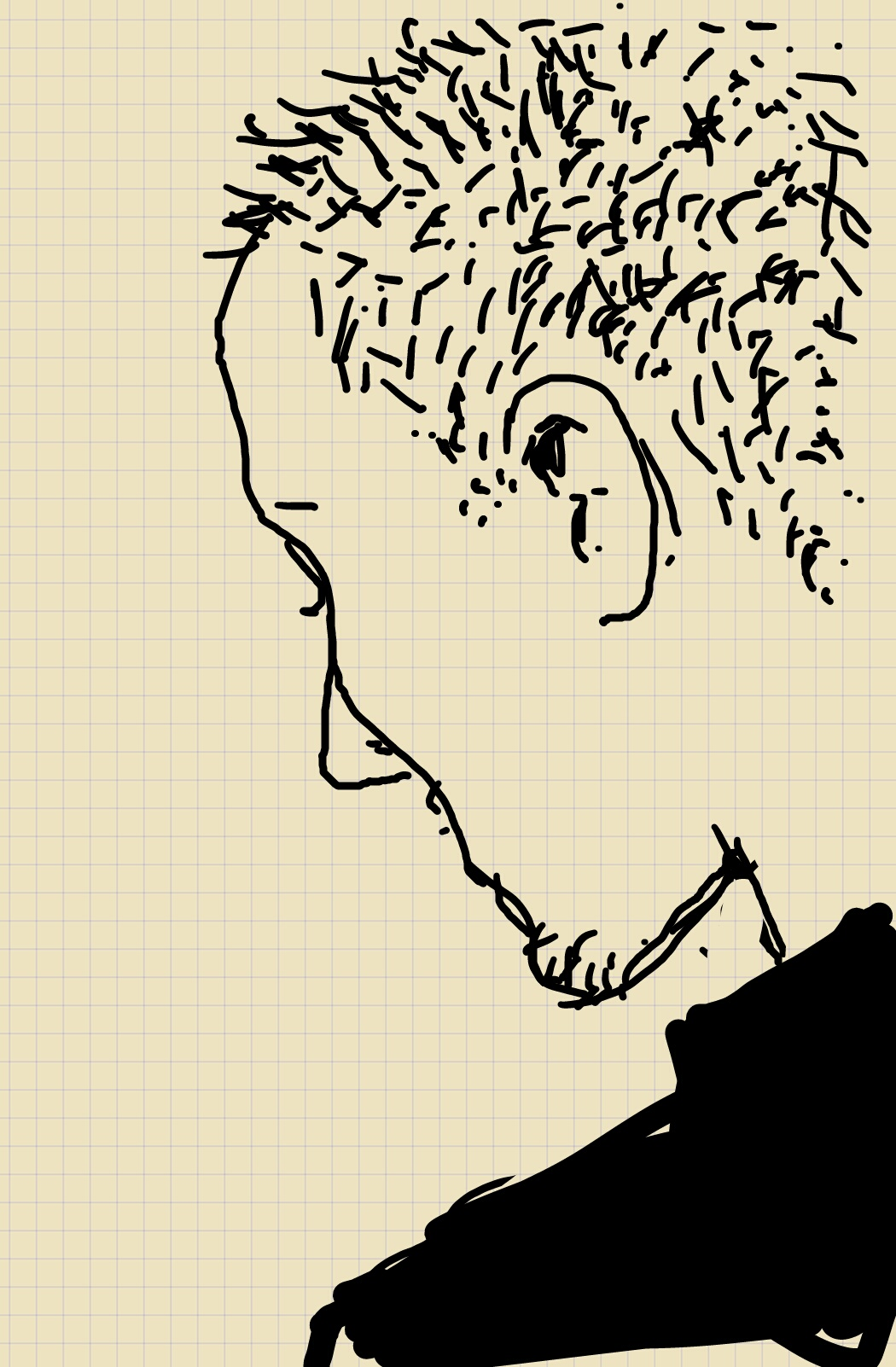 A side-on sketch of a young man with spiky hair, looking downwards. His eyes are hidden.