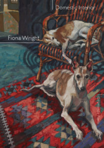 "The cover of Fiona Wright's ""Domestic Interior"". The cover is a painting of two dogs, one lying on a rug, the other asleep on a chair."