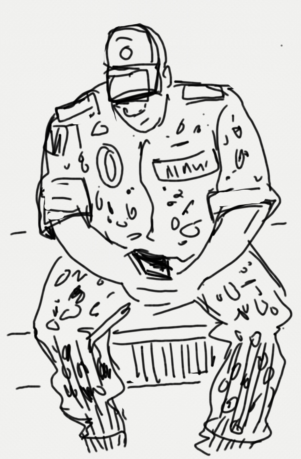 A sketch of a large man hunched over a small phone