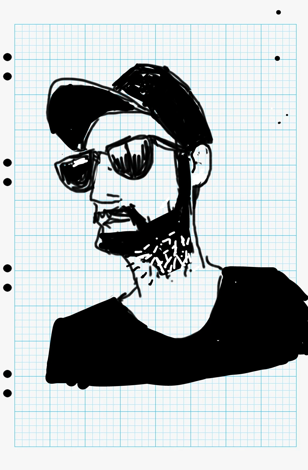 A sketch of a young man with a beard, a cap and a black tee shirt.