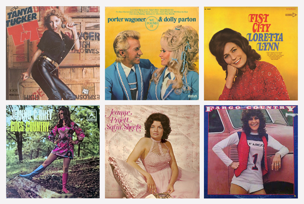 A grid of six classic country music album covers