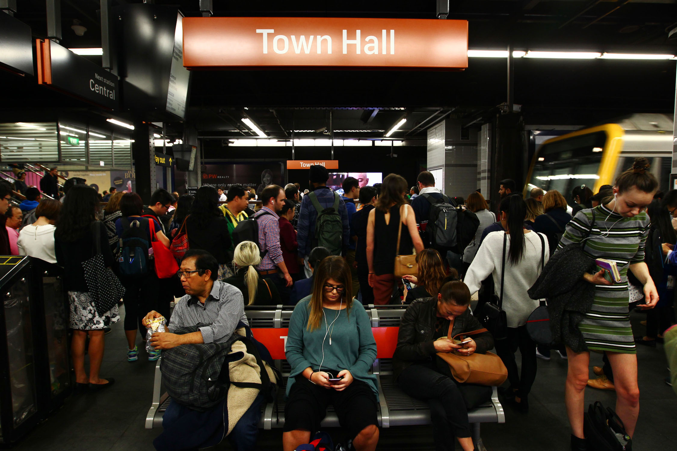 Crowded platform at Town Hall Station, Sydney