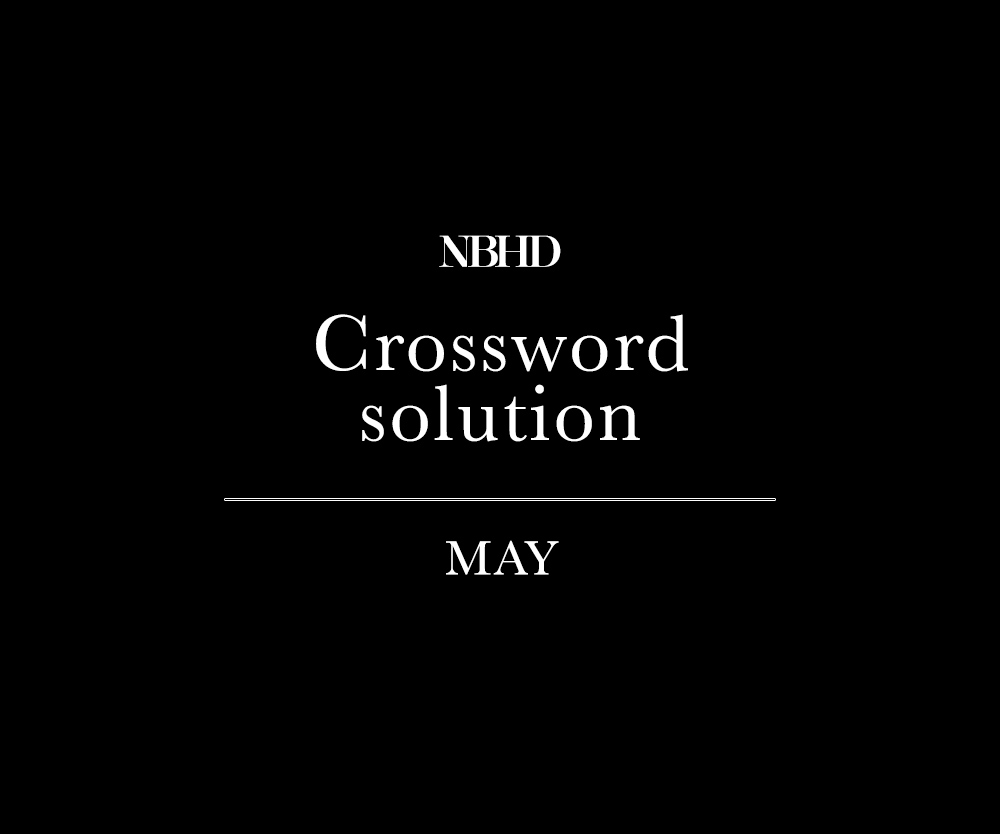 NBHD - Crossword solution - May 2018