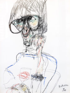 Portrait drawing of Tony Bilson by John Olsen