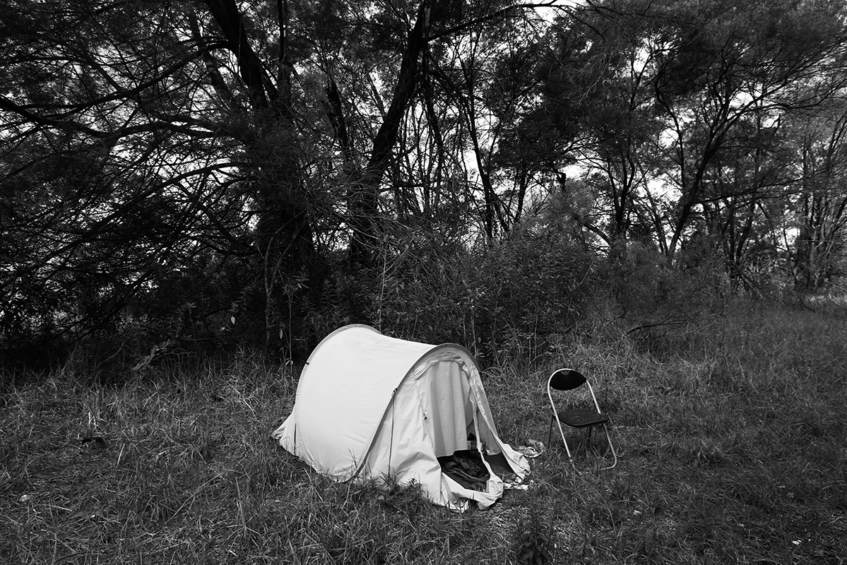 one tent and a chair in Hawkesbury region NSW