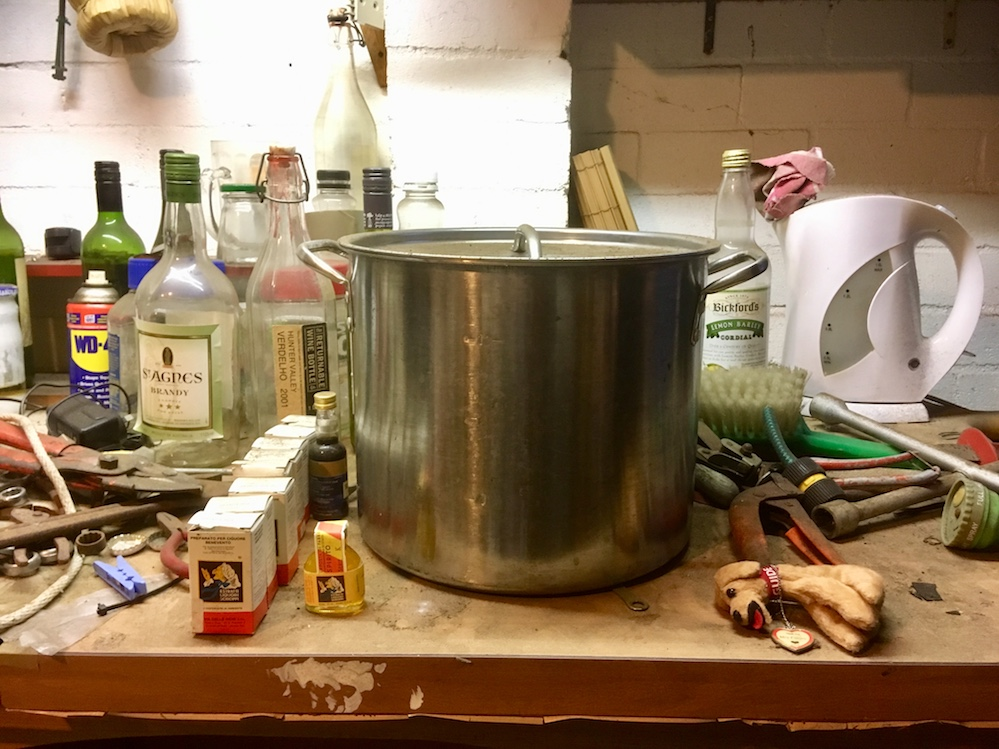 Pasta pot, La Strega packets, booze etc at Di Fonzo's booze-making stattion AKA the garage.