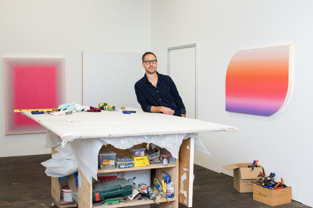 Artist Jonny Niesche in his studio. Photography by Jacquie Manning.