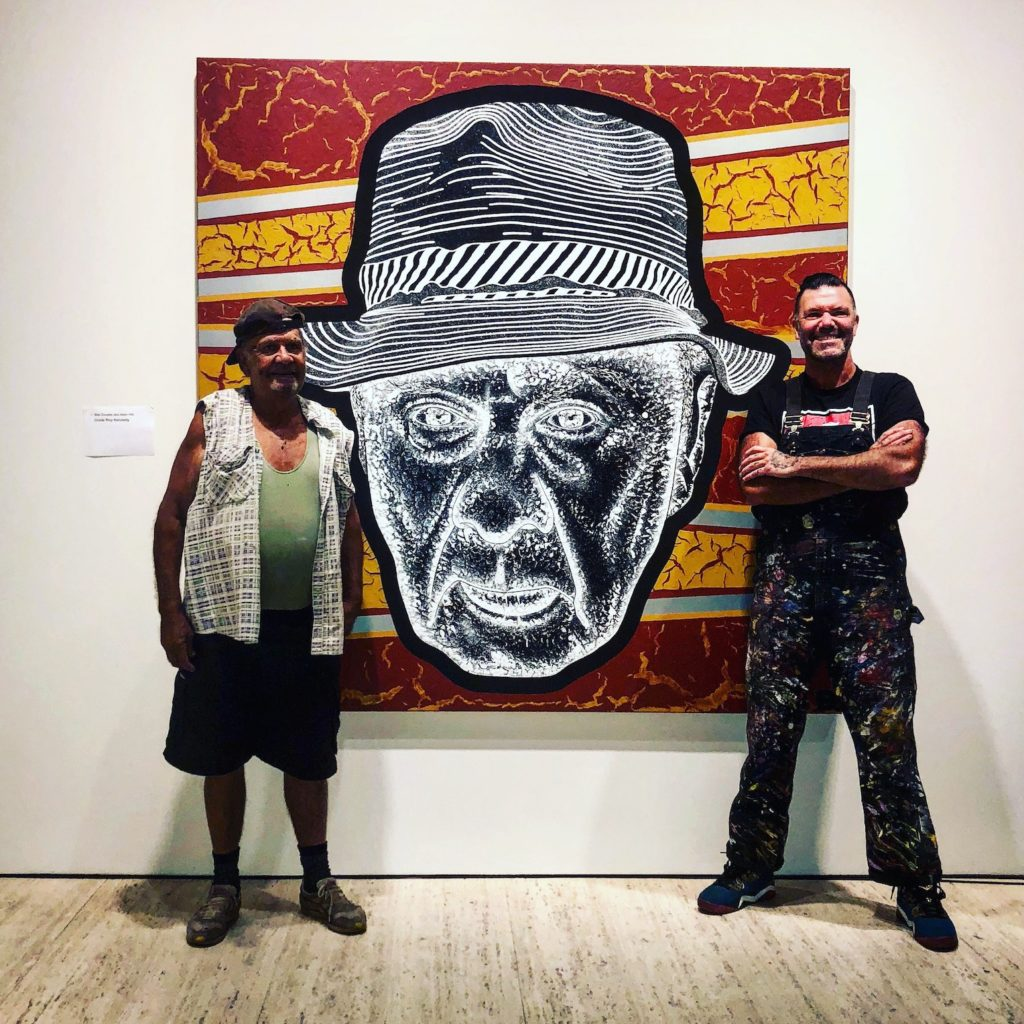 Uncle Roy Kennedy and artist Adam Douglas Hill in front of Archibald Prize entry painting.