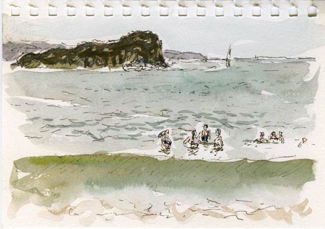 watercolour painting of people swimming with Lion Island in the background.