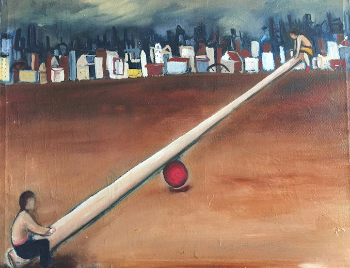 Painting of two people on a seesaw with an urban backdrop by artist Amanda Meares